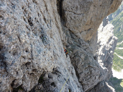 On the upper section of Via Cappellari - Timillero North Face, Sass d'Ortiga (Pale di San Martino)