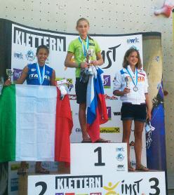 Female youth B lead: Eva Scroccaro ITA, Janja Garnbret SLO, Juliia Panteleeva RUS