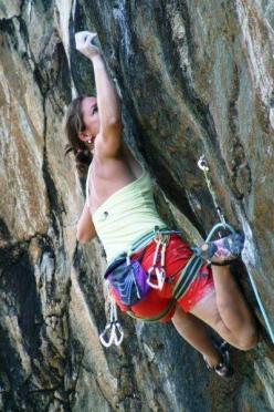 Caroline climbing Gajardi at Zoia Nuova