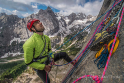 Geremia Vergoni at the belay on Invisibilis, South Face Marmolada d'Ombretta (Dolomites)