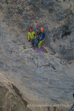 Rolando Larcher and Geremia Vergoni climbing Invisibilis, South Face Marmolada d'Ombretta (Dolomites)