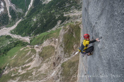 Geremia Vergoni climbing Invisibilis, South Face Marmolada d'Ombretta (Dolomites)