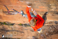 Alexander Megos on Retired Extremely Dangerous (9a, 35) at Diamond Fall, Blue Mountains, Australia.