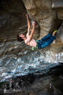 Adam Ondra making the first ascent of Move 9b/+ at the Hanshelleren cave in Flatanger, Norway (08/2013)