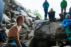 Adam Ondra making the first ascent of Move 9b/+ at the Hanshelleren cave in Flatanger, Norway