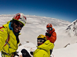 Hansjörg Auer, Simon Anthamatten and Matthias Auer on the summit of Kungyang Chhish East, Karakorum, Pakistan in July 2013