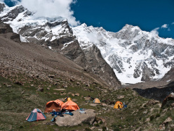 Hansjörg Auer, Simon Anthamatten, Matthias Auer: first ascent of Kungyang Chhish East, Karakorum, Pakistan in July 2013: Base Camp
