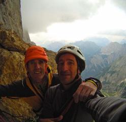 Rolando Larcher and Maurizio Oviglia after climbing Attraverso il Pesce (Marmolada, Dolomites)