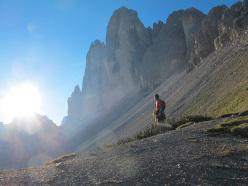 Dani Moreno below the Tre Cime di Lavaredo, Dolomites