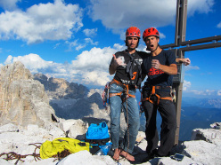 Dani Moreno and Dani Fuertes on the summit of Cima Ovest di Lavaredo after having repeated Bellavista.