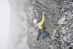 Roger Schäli and Robert Jasper making the first free ascent of Piola - Ghilini Direttissima on the Eiger on 02/08/2013.