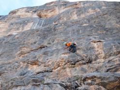Simon Kehrer and Helmut Gargitter climbing Spina de Mulo, Col Becchei.