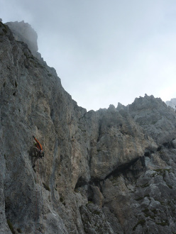 Daniele Natali on the vertical section of pitch 3 during the first repeat
