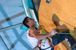 Ramón Julian Puigblanque clipping the chain during his 7th Rock Master victory