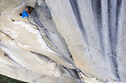 Yuji Hirayama high on The Nose, El Capitan, Yosemite, climbed with Hans Florine in a record 2:43:33.
