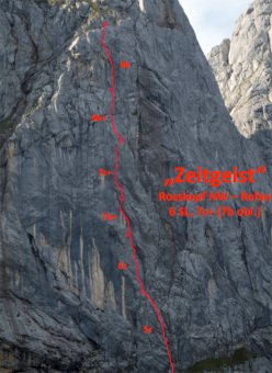 Zeitgeist (300m, 7c+, 7b obbl, Markus Haid, Florian Klingler 09/2012) Roßkopf, Rofan Gebirge, Austria.
