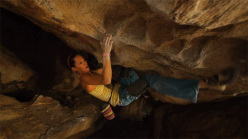 Slovenian climber Martina Mali on Rumble in the Jungle at Hueco Tanks, USA.