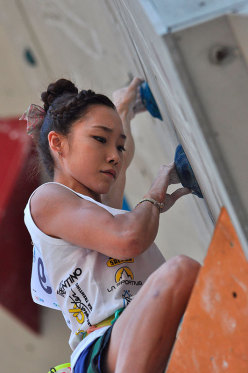 Korean sports climber Jain Kim at Rock Master 2013.