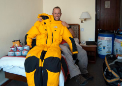 Danilo Callegari with his special high altitude suit for Shisha Pangma