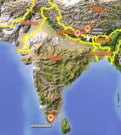 From the Himalaya to the Ocean: from the summit of Shisha Pangma to then cross Nepal and India by bike, for 4500 km.
