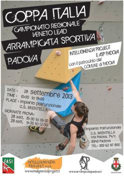 Sabato 28 settembre 2013 si svolgerà a Padova la IV tappa della Coppa Italia Lead e del Campionato Regionale Veneto Lead.