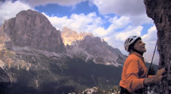 Fred Beckey climbing at Cinque Torri, Dolomites