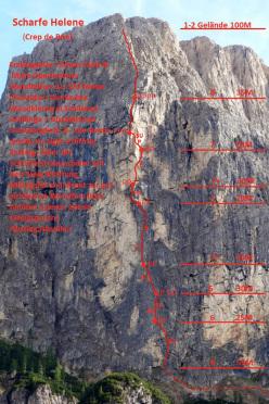 Scharfe Helene (VIII-, 320m, Simon Gietl e Mark Oberlechner), Crep de Boè (2465m), Dolomites