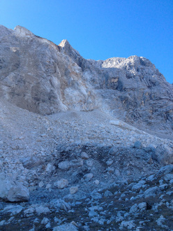 The rockfall at Cadin del Laudo, Sorapiss group, Dolomites on 30 September 2013.