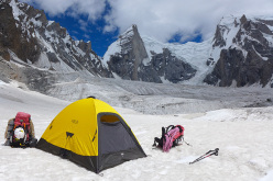 The glacier camp of Daniela Teixeira and Paulo Roxo in the Nangma Valley. Kapura is the obvious peak above the tent.