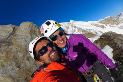 Paulo Roxo and Daniela Teixeira on the summit of Kapura South