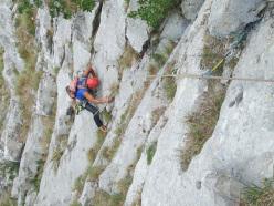 Rocco Caldarola sul 10° tiro sul Torrione sopra la grande placconata