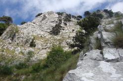 Dalla sosta 11° tiro, vista sul Torrione Finale dove finisce la via 12°,13° e 14° tiro