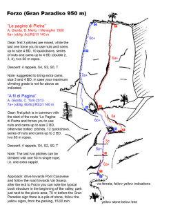 Tracciato della Via A Fil di Pagina su Le Pagine di Pietra, Forzo, Gran Paradiso
