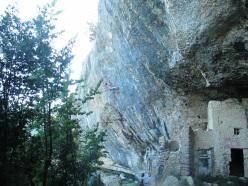 Damiano Capulli climbing Debolezza e Disonore 8c+ at Grotti, Italy