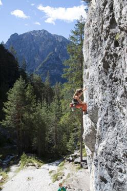 Carmen Brugger climbing at Ciastlins, Dolomites.
