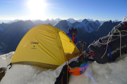Bivouac #4 on Kishtwar Kailash (6,451m), Indian Himalaya during the first ascent carried out by Mick Fowler and Paul Ramsden in October 2013.