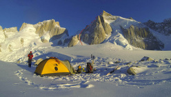 The tent at the foot of the south face of Cerro Pollone and the start of the route followed by Hervé Barmasse and Martin Castrillo