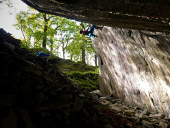 Greg Boswell climbing Powerdab M13, (The Works - Lake District), UK