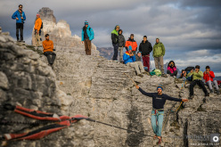 Benjamin Kofler durante il Monte Piana Highline Meeting 2013