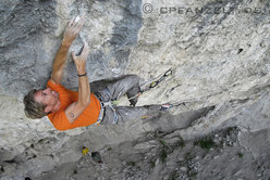 Andreas Bindhammer during the first ascent of Hades 9a at the Götterwand, Tyrol, Austria.
