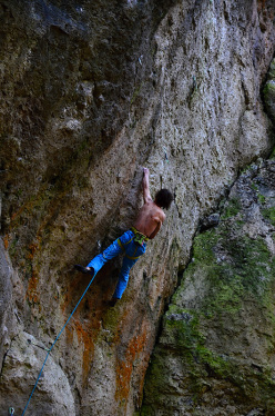Adam Ondra climbing Sever the Wicked Hand 9a, Frankenjura, Germany.