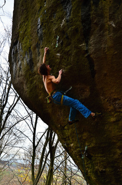 Adam Ondra climbing The House of Shock 9a, Frankenjura, Germany.
