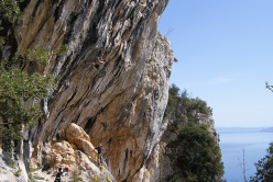 Andrea Polo climbing The Core 8c+ at Medveja in Croatia