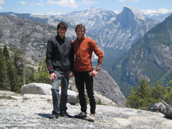 Hasjörg Auer and his brother Mathias on the summit of El Capitan. Half Dome is clearly visible in the background.