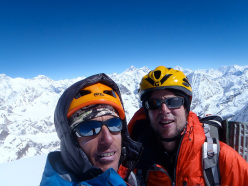 Domen Kastelic and Santiago Padros on the summit of Kang Nachugo East, (6640), Rolwaling, Nepal, 22/10/2013
