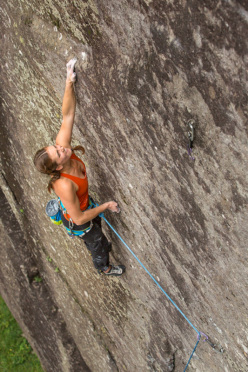 Paige Claassen making the first repeat of Art Attack 8c, Sasso Remeno, Val di Mello, Italy