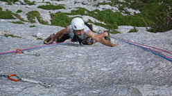 Herman Zanetti on the dyno on pitch 4 of Fisioterapia d'urto