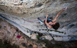 Eva López redpointing Potemkin, 8c+ at Cuenca, Spain