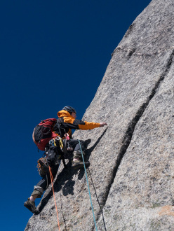 Dave Anderson leading on Three Sheep Bring Prosperity (600m, 5.10 r/x, 60°, Dave Anderson, Chaohui Zheng, Szu-ting Yi) Mt Dayantianwo, Siguniang National Park, China.