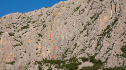 The route line of Prcek, Punta Cusidore.